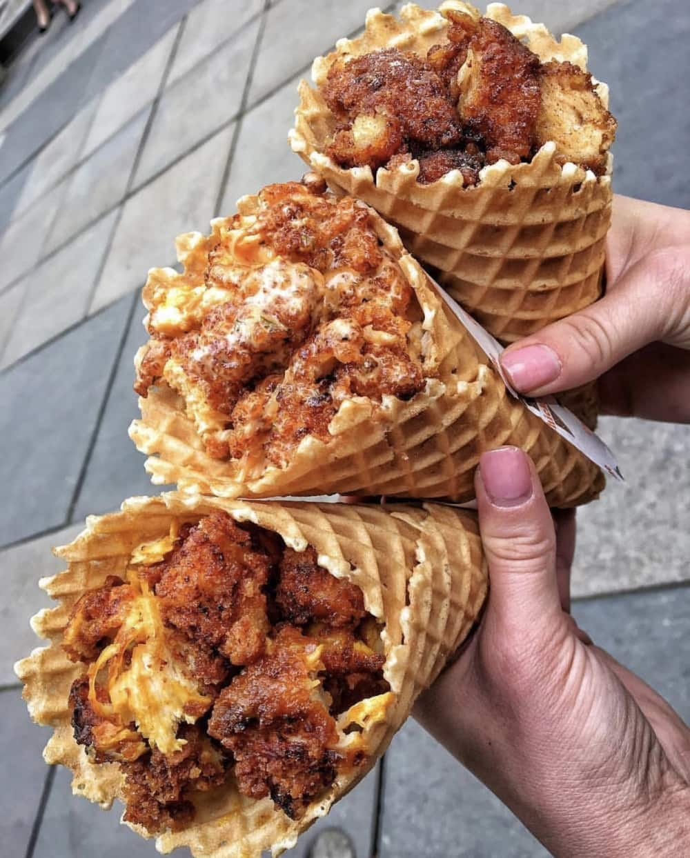 Fork-Free chicken and waffles. Photo courtesy of @DevourPower