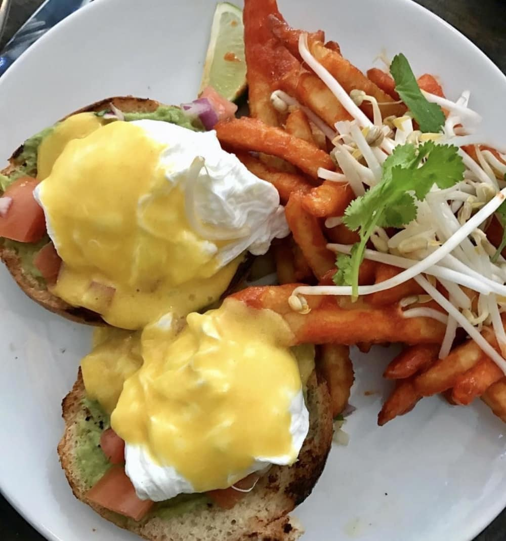Delish California Eggs Benedict and Pad Thai Fries from Lisa Marie.
