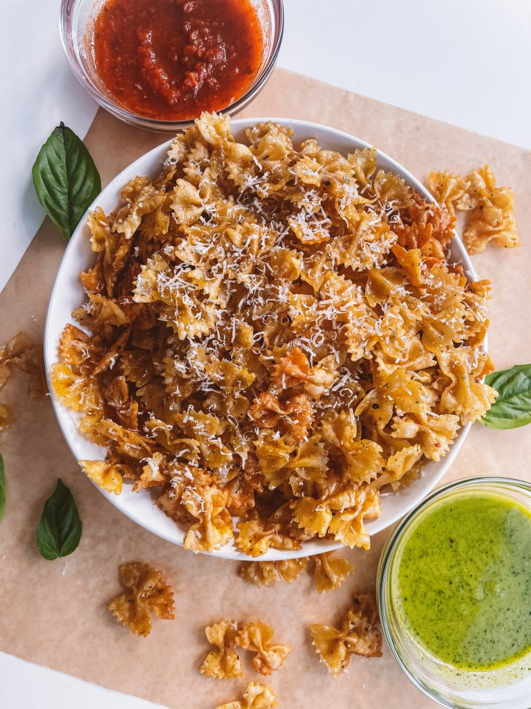 Viral Pasta Chips with homemade pesto
